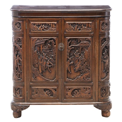 Chinese Carved Bar Cabinet, Mid-20th Century