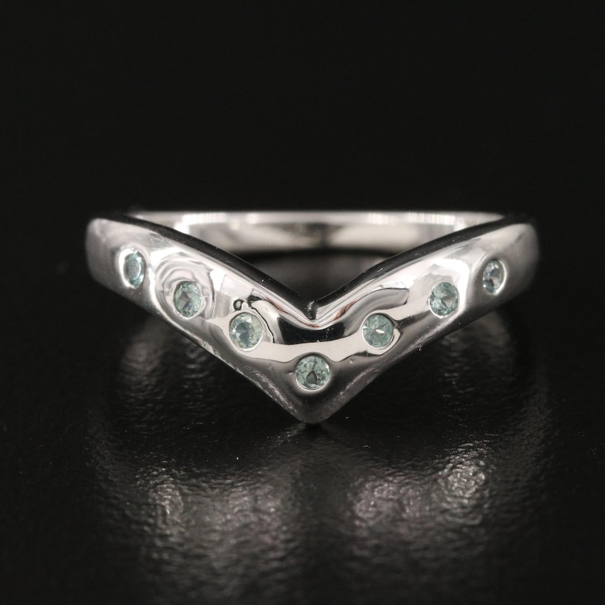 Sterling Silver and Alexandrite Chevron Contour Band