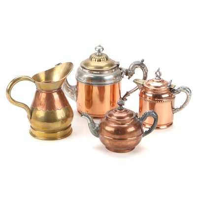 Manning Bowman & Co. and Other Copper Teapots, Creamer and Pitcher