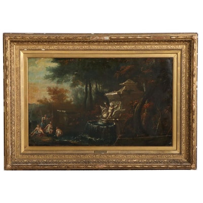 School of Nicolas Poussin Landscape Oil Painting, 17th Century