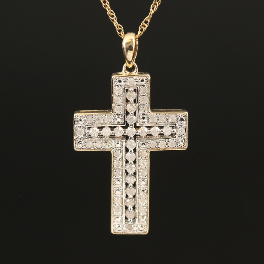 Diamond Cross Pendant on Sterling Chain