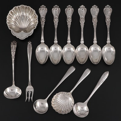 """Whiting """"Violet"""" Sterling Silver Teaspoons with Other American Silver Tableware"""