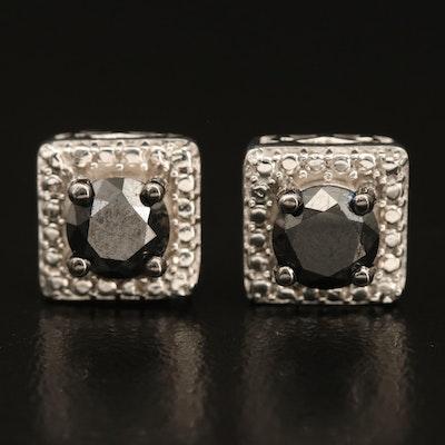 Sterling 1.00 CTW Fancy Black Diamond Stud Earrings