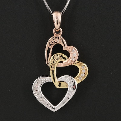 """Sterling Silver and Diamond """"Love, Hope, Faith"""" Hearts Pendant Necklace"""
