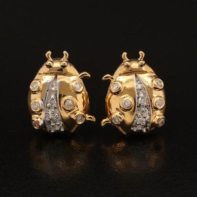 Sterling Diamond Ladybug Earrings
