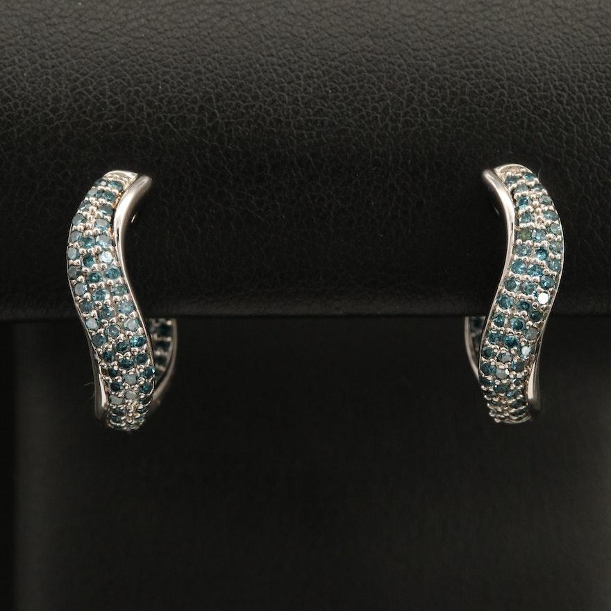 Sterling Fancy Blue Diamond Curved Hoop Earrings
