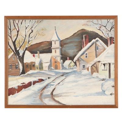 Laura Sweeney Winter Landscape Oil Painting, 1964