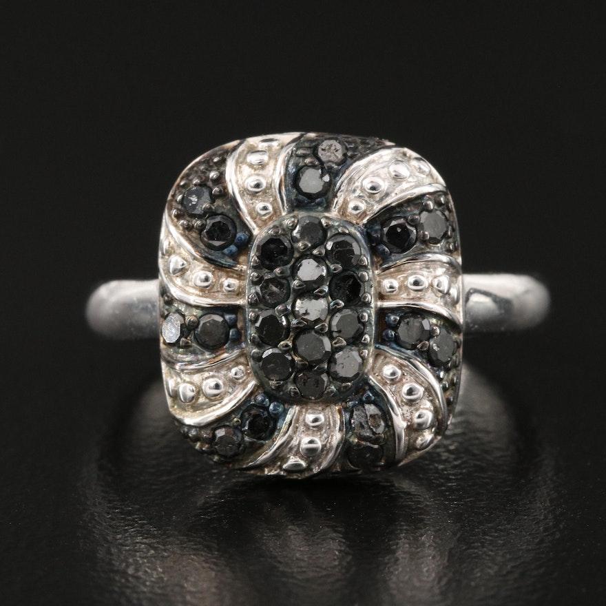 Sterling Silver Diamond Spiral Ring