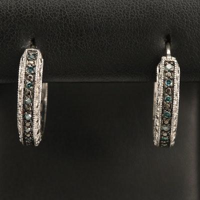 Sterling Fancy Blue Diamond Hoop Earrings with Milgrain Detail