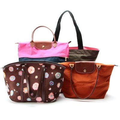 Longchamp Millefiori Canvas and Le Pliage Totes with Hervé Chapelier Shopper Bag