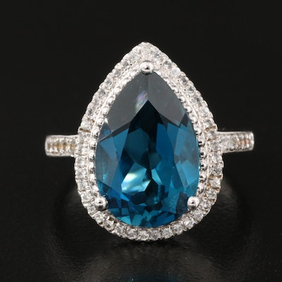 Sterling Silver London Blue and White Topaz Ring