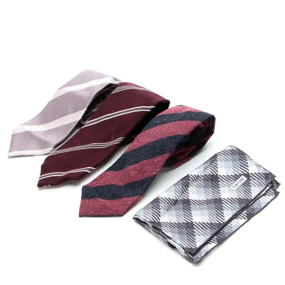 Isaia and Tom Ford Striped Neckties with Handkerchief