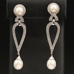 Sterling Pearl and Diamond Pendulum Drop Earrings