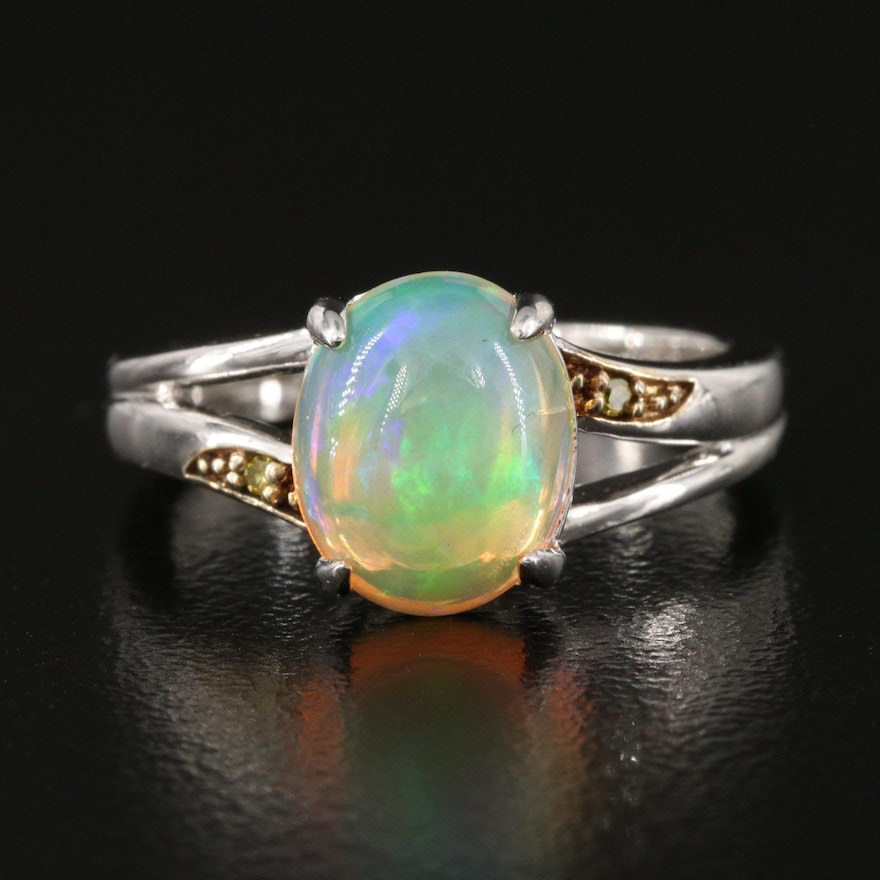 Sterling Opal and Diamond Ring with Split Shoulders