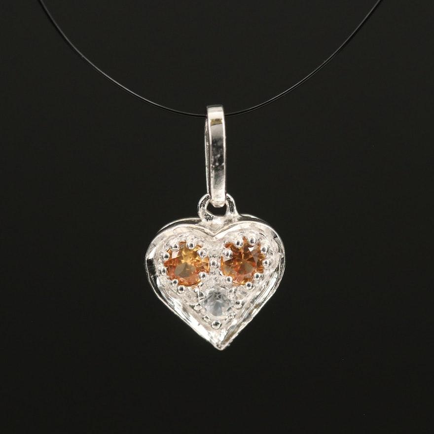 Sterling Sapphire and Zircon Three Stone Love Pendant