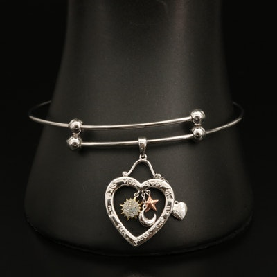 Sterling Bracelet with Openwork Heart Charm