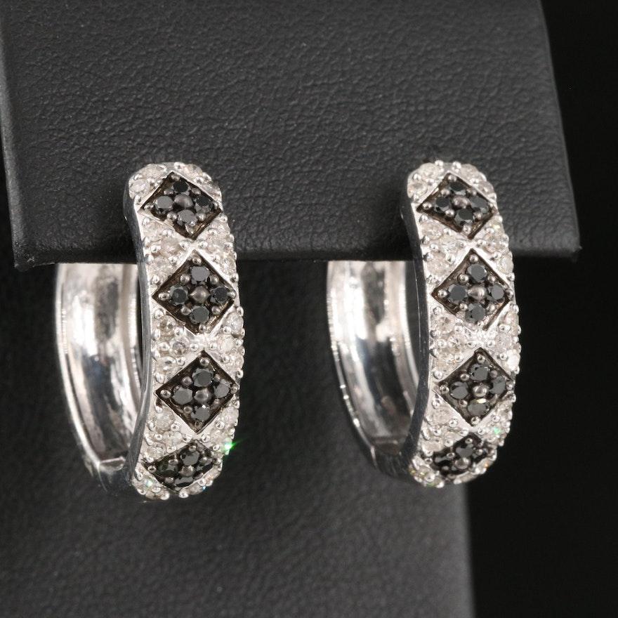 Sterling Silver Diamond Argyle Motif Hoop Earrings