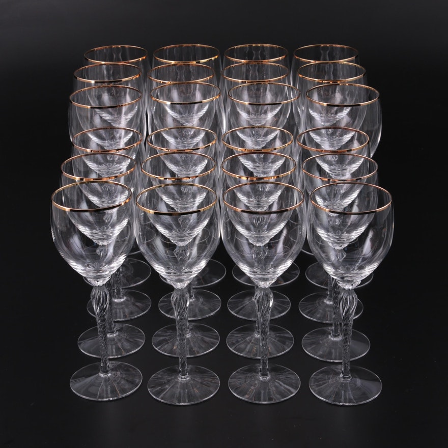 """Lenox Crystal """"Monroe"""" Gold Trim Water Goblets and Wine Glasses"""