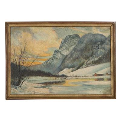 Mountain Landscape Oil Painting, 1942