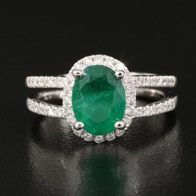 Platinum 1.72 CT Emerald and 0.37 CTW Diamond Split Shank Ring