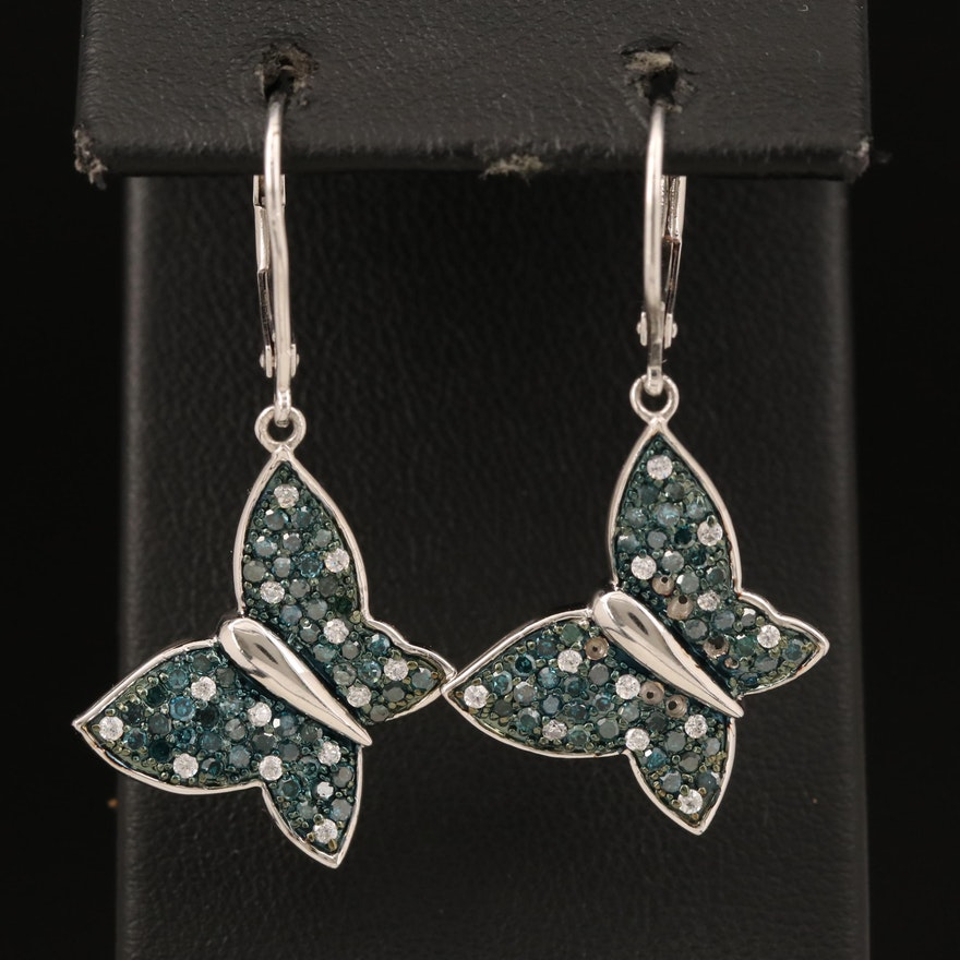 Sterling Diamond and Cubic Zirconia Butterfly Earrings