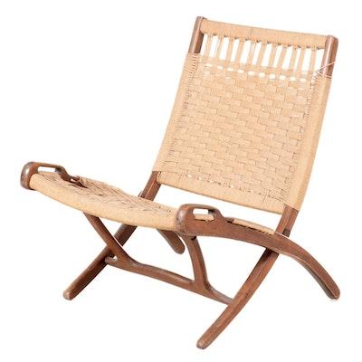 Danish Modern Style Beech and Rope Folding Chair after Hans Wegner
