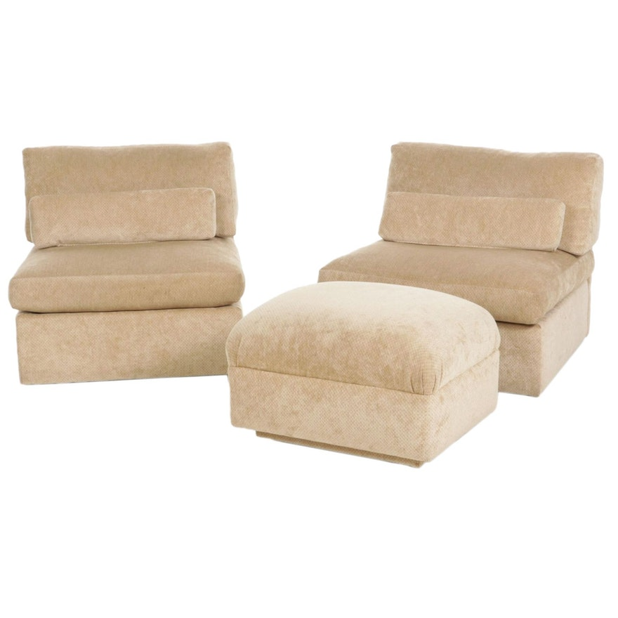 Pair of Modernist Armless Upholstered Club Chairs and Ottoman