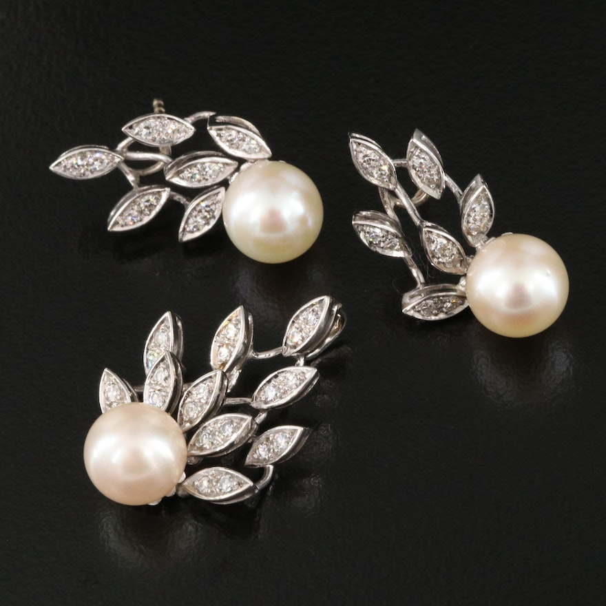 18K Pearl and 0.66 CTW Diamond Pendant and Earring Set