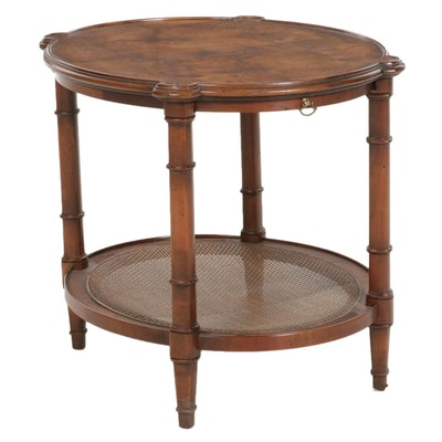 Two Tier Center Table with Burl Top and Woven Cane Shelf, Late 20th Century