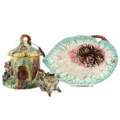 Majolica Hand-Painted Ceramic Humidor, Tray and Creamer, Late 20th Century