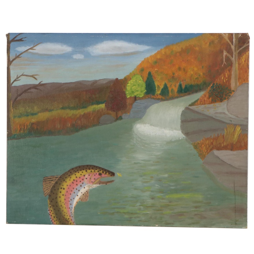 Landscape Oil Painting of a Waterfall and Trout