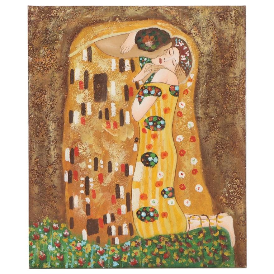 "Oil Painting after Gustav Klimt ""The Kiss,"" 21st Century"