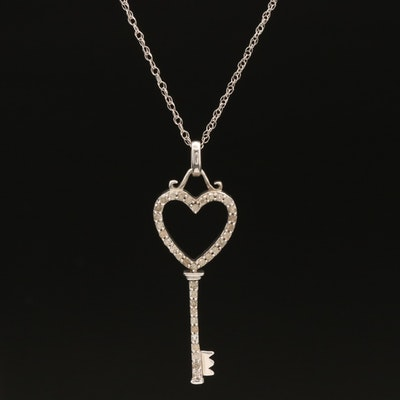 Sterling Reversible Diamond Heart Key Pendant Necklace