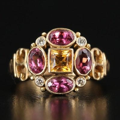 18K Citrine, Tourmaline and Diamond Openwork Ring
