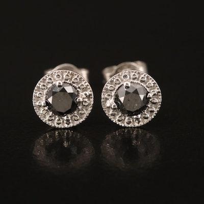 Sterling 0.80 CTW Black Diamond Stud Earrings