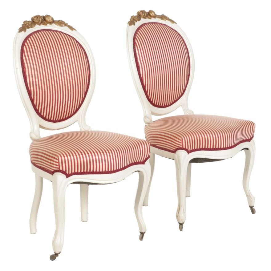 Pair of Rococo Revival Paint-Decorated Parlor Chairs, Late 19th Century