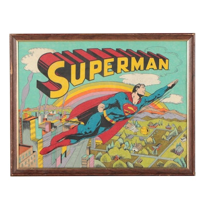 Hand-Colored Lithograph of Superman, 1976