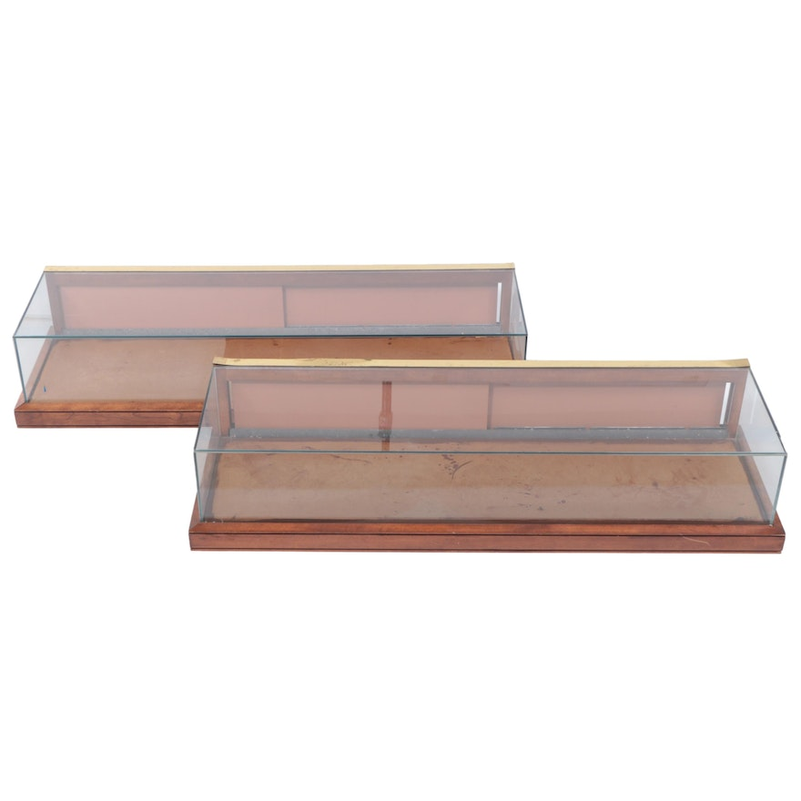Pair of Brass-Mounted Hardwood Countertop Display Cases, 20th Century