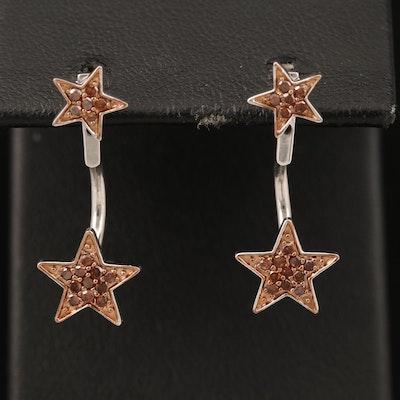 Sterling Diamond Star Stud Earring and Enhancer Set