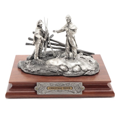 """Francis Barnum for Chilmark """"Christmas Truce"""" Pewter Sculpture, 1994"""