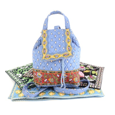 Vera Bradley Backpack and Placemats in Quilted Floral and Insect Print Cotton