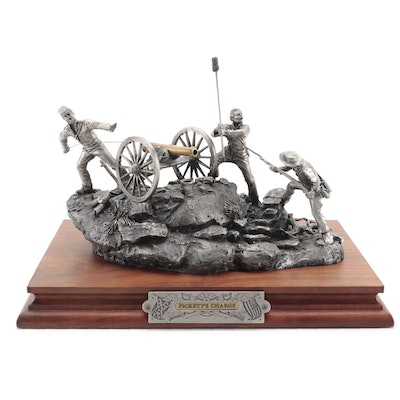 """Fran Barnum for Chilmark """"Pickett's Charge"""" Pewter Sculpture, 1987"""