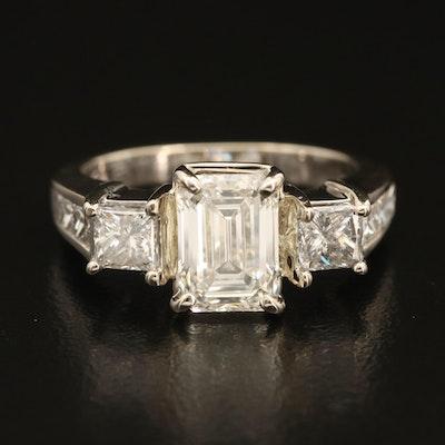 14K 3.35 CTW Diamond Multi-Stone Ring with IGI Report