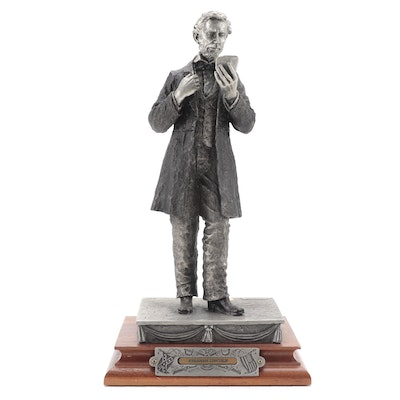 """Francis Barnum for Chilmark """"Abraham Lincoln"""" Signed Pewter Sculpture, 1995"""