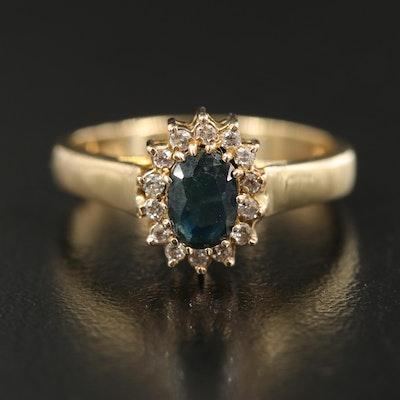 14K 0.10 CTW Diamond and Sapphire Halo Ring