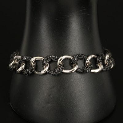 Sterling Cubic Zirconia Curb Chain Bracelet