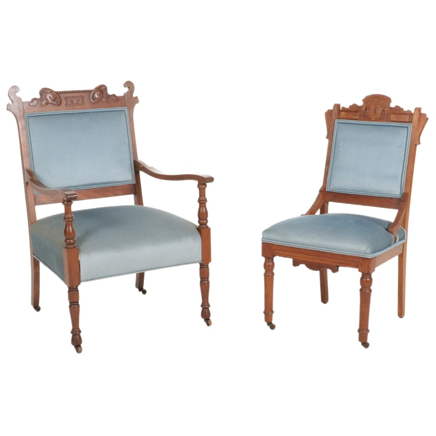 Victorian Walnut Upholstered Armchair and Side Chair, Early 20th Century