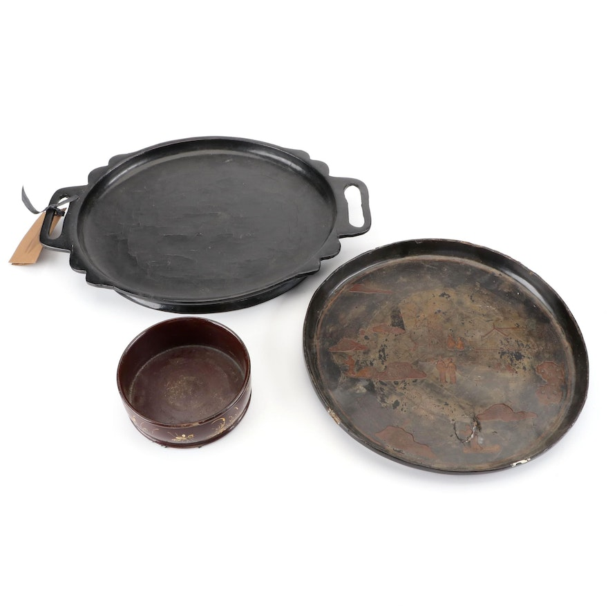 Chinese Hand-Painted Camphor Wood with Other Lacquerware Trays and Dish