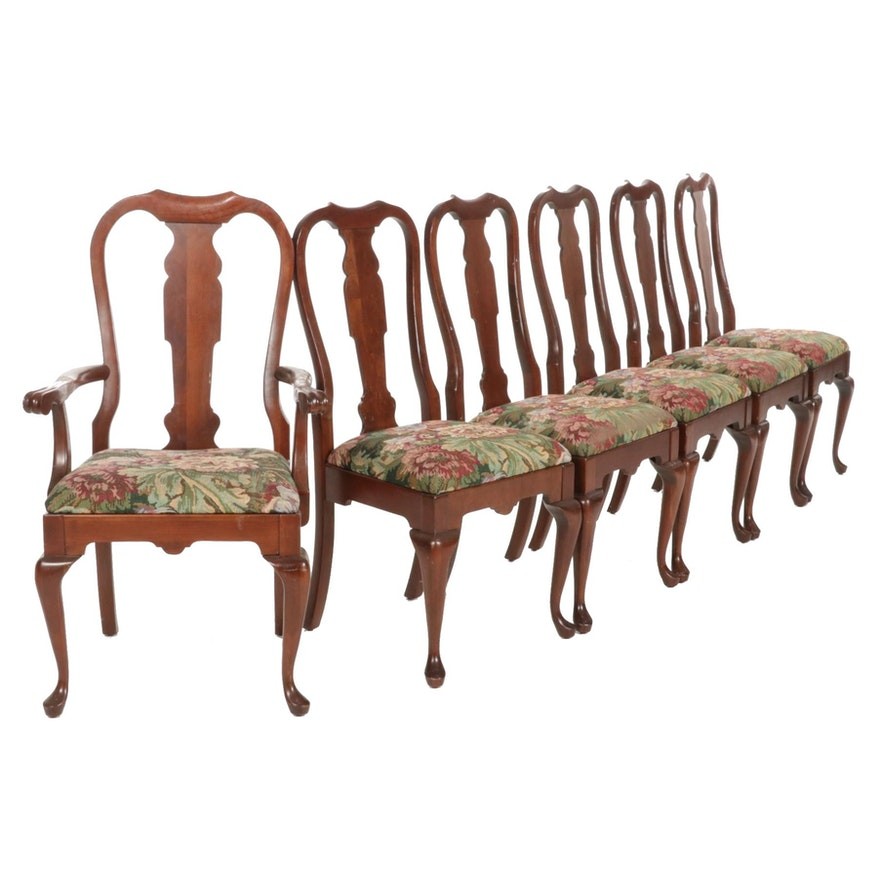 Six Pennsylvania House Queen Anne Style Cherry Dining Chairs, Late 20th Century