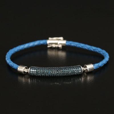 Sterling Diamond Stationary Pendant Bracelet